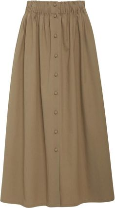 By Any Other Name Button-Detailed Cotton-Blend Poplin Midi Skirt midi Button-Detailed Cotton-Blend Poplin Midi Skirt by By Any Other Name Long Skirt Fashion, Frock Fashion, Abaya Fashion, Modest Fashion, Fashion Dresses, Girly Outfits, Classy Outfits, A Line Skirt Outfits, Dress Skirt
