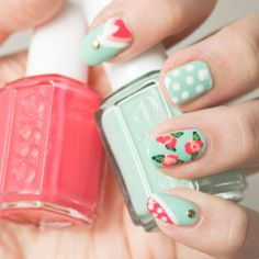 ! Mademoiselle Nostalgeek: [NOTD] Nail Art avec Mint Candy Apple et Cute as a Button!
