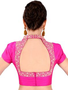 Buy Yosshita & Neha Pink Raw Silk Saree Blouse - Saree Blouse for Women 1143656 Blouse Back Neck Designs, Silk Saree Blouse Designs, Fancy Blouse Designs, Blouse For Silk Saree, Silk Blouses, Raw Silk Saree, Stylish Blouse Design, Designer Blouse Patterns, Boutique