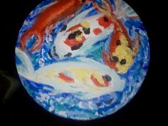 Koi in acrylics on wood stool
