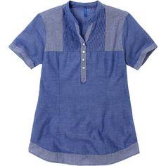 Weekend. Modelo: G815A04275756TSE. Blusa con alforzas, combinación de telas, manga corta y cuello mao.