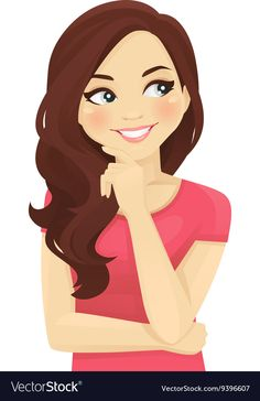 Woman thinking vector image on VectorStock Cute Cartoon Pictures, Cartoon Images, Cartoon Art, Black Phone Wallpaper, Lovely Girl Image, Illustration Girl, Cool Cartoons, Cute Stickers, Vector Art