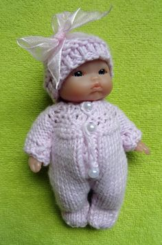"Hand Knitted Dolls Clothes for 5"" Berenguer Doll (# 281)"