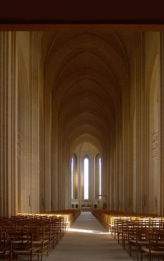 P.V. Jensen-Klint, Danish architect and painter, 1853 - 1930  Grundtvig memorial church is located northwest of Copenhagen. His use of single, uncut brick works especially well on the interior. After his death, his son continued his work to completion in 1940 ten years post mortem.