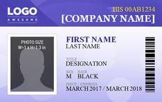 Name Badge Template, Id Card Template, Certificate Templates, Templates Printable Free, Free Printables, Employee Id Card, Word Web, Company Id, Free Id