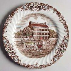 Vintage Johnson Brothers Ironstone China Dinner Plate  Salad Plates  Heritage Hall New Orleans Scene Salad Plate Staffordshire Ironstone
