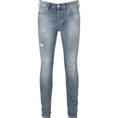 AllSaints Dak Cigarette Jeans ($130) ❤ liked on Polyvore featuring men's fashion, men's clothing, men's jeans, men jeans, mens skinny jeans, mens destroyed skinny jeans, mens ripped jeans, mens skinny fit jeans and mens distressed jeans