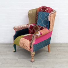Reconstructed Wingback Armchair In Patchwork Designer Velvets Wingback Armchair, Geometric Fabric, Shop Up, Mineral Paint, Upcycled Furniture, Household Items, Accent Chairs, Upholstery, New Homes