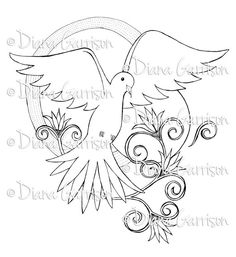 Now available on Etsy - Dove Digi Digital Stamp by Diana Garrison. $3.00