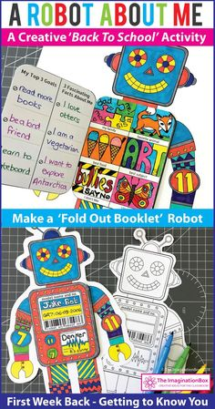 This 'All About Me Robot' fold out art and writing activity is an easy back to school project for the classroom. A great lesson plan for 4th, 5th, 6th, 7th grade teachers to use as a fun first week back getting to know you resource, encouraging team building and learning. The finished robot coloring pages make great displays for bulletin boards and open house. Click the 'visit' button to view this detailed printable teacher resource in full #BackToSchool #AllAboutMe #Robot