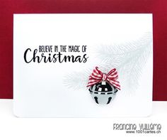 Sunny Studio Stamps: Holiday Style Jingle Bell with Tree Branch Christmas Card by Francine Vuillème