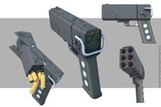 "Weapons Richard Descartes from the novel by F. Dick ""Do Androids Dream of Electric Sheep? Six-shot laser pistol with rechargeable disposable ruby-core. Sci Fi Weapons, Weapon Concept Art, Fantasy Weapons, Weapons Guns, Guns And Ammo, Rpg Cyberpunk, Future Weapons, 3d Cnc, Cool Guns"