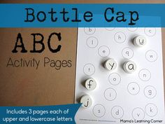 Bottle Cap ABC Matching Pages - Mamas Learning Corner