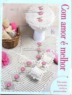 Crochet pink and white bathroom set ❤️LCB-MRS❤️ with diagrams. --- Crochê da Reh: Jogo de Banheiro Branco com Rosa
