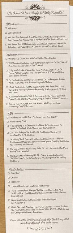Haha - too funny! Loving this wedding RSVP card :) #funnycauseitstrue (via newslinq.com)
