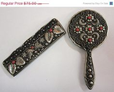 Vintage Silver and Coral Mirror and Comb Set Personal by COBAYLEY