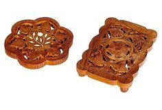 Wood Inlaid Trivets, Pair