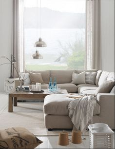 Corner sofa in front of big window, still get the view