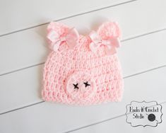 Baby pig hat Great for photo props or Halloween Baby pink color hat with pink bows