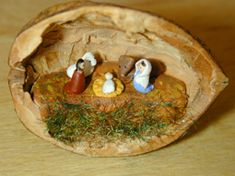 Miniature nativity in a walnut shell