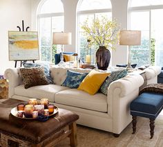 Great combo of yellow, indigo blue and browns. I really like the Mansfield Print Pillow Cover $30