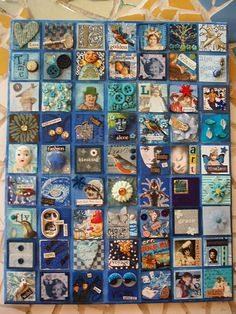 I recently hosted a collage swap . Where 7 players took part. We all ended up with a mosaic of squares on canvas. This is the color my friend Lee-Ann chose - gorgeous isn't it? Arte Quilling, Art Trading Cards, Collaborative Art, Assemblage Art, Mixed Media Canvas, Mail Art, Thing 1, Box Art, Fabric Art