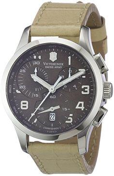Victorinox Swiss Army - Reloj cronógrafo de cuarzo para mujer con correa de piel, color beige
