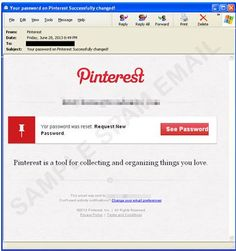 "Has your ‪#‎Pinterest‬ password been ""successfully changed?"" Beware of a new phishing email targeting Pinterest users (Image Credit: Help Net Security)"