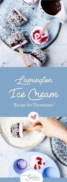 Let's talk serious ice cream business. This is a wonderful way to spend Australia Day at home and eat lots of delicious ice cream. I love Lamingtons and I love ice cream so what's not to love about dairy-free Lamington ice cream popsicles? This is a super easy Thermomix recipe and you can easily use the base coconut ice cream to make any other popsicles you like but for Australia Day it's got to be something special. Sugar Free Ice Cream, Coconut Ice Cream, Love Ice Cream, Ice Cream Desserts, Frozen Desserts, Ice Cream Recipes, Thermomix Icecream, Thermomix Desserts, Ice Cream Business