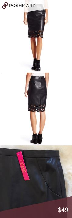 Catherine Malandrino Faux Leather Midi Skirt New With Tags- black faux leather skirt by Catherine Catherine Malandrino with banded waist, hidden back zip closure and cutout detailed hem. Made of Polyester & Polyurethane. Catherine Malandrino Skirts Midi