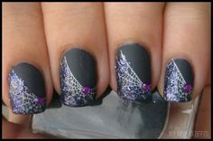 Spider Web Matte Grey Polish - not in love with the design, but love the glitter on matte!