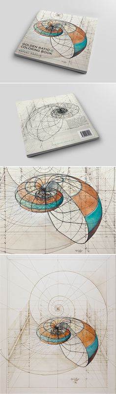 Hand-drawn Golden Ratio illustrations offer mathematical perspective of nature's beauty while you color.