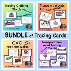 Trace the Word Bundle of Wipe Off Cards for Home and School