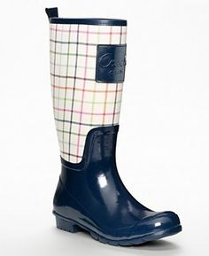 Coach Women's Pearl Tattersal Print Rain Boots (Ivory Navy) COACH. $118.00