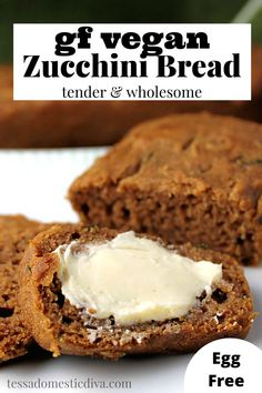 Wholesome and tender and cinnamon scented zucchini bread is vegan too! Gluten Free Zucchini Bread, Vegan Gluten Free, Paleo Recipes, Real Food Recipes, Egg Free, Food Print, Healthy, Cinnamon, Desserts