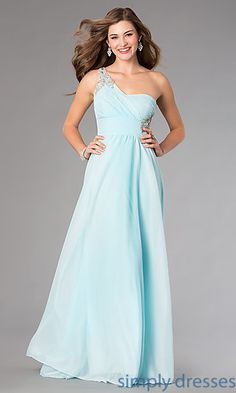 One Shoulder Floor Length Dress with Rhinestone Detailing at SimplyDresses.com