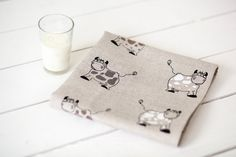 Linen kitchen tea towels set with cows print  Perfect gift for cows lovers, housewarming, and mothers day  This listing is for two linen towels