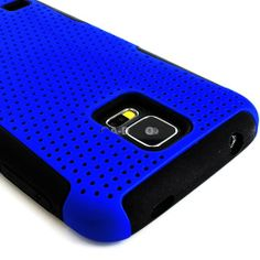 myLife (TM) Vibrant Royal Blue and Charcoal Black - Perforated Mesh Series (2 Layer Neo Hybrid) Slim Armor Case for the NEW Galaxy S5 (5G) S...