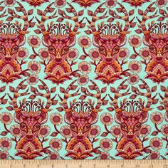Designed by Tula Pink for Free Spirit, this cotton print fabric is perfect for quilting, apparel and home decor accents. Colors include orange, yellow, red, white and pink and fuchsia on an aqua blue background.