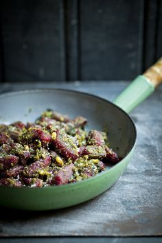 Potato - Beetroot gnocchi with pesto