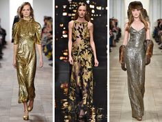 Gold full-length dresses at (from left) Michael Kors, Donna Karan and Ralph Lauren. T Magazine, Donna Karan, Fall 2015, Ny Times, Preppy, Ralph Lauren, Michael Kors, Couture, Womens Fashion