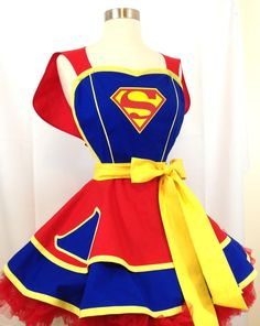 Items similar to Retro Apron - Super Girl Pinup Apron, Superhero Apron. Comic Book Cosplay, Costume Apron, Woman's Apron, Hostess Apron on Etsy Cute Aprons, Retro Apron, Hero Costumes, Sewing Aprons, Apron Designs, Supergirl, Superman, Dress Up, Knot Dress