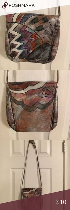 Jane Yoo hand painted and signed vintage purse. Beautiful vintage signed Jane Yoo purse in excellent condition.  All leather. jane yoo Bags Crossbody Bags