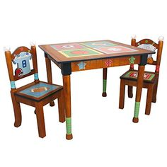 Fantasy Fields  Lil Sports Fan Thematic Hand Crafted Kids Wooden Table and 2 Chairs Set Imagination Inspiring Hand Crafted  Hand Painted Details   NonToxic Lead Free Waterbased Paint ** Want to know more, click on the image.