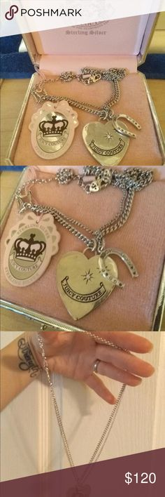 Juicy Couture sterling silver 925 heart necklace❤️ Brand new never worn Juicy Couture sterling silver double chain heart and horseshoe necklace. Very pretty!!! Retails for $225. I received this as a gift and never worn it. New condition except on the horseshoe a couple of the tiny rhinestones are missing.... not very noticeable.. but please see pictures. Rare and pretty juicy necklace, comes with price tag and box. Message me if you have any questions and check out my other listings. Bundles…