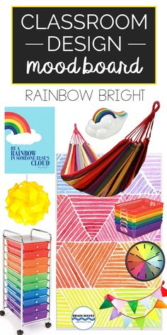 You'll have the happiest classroom in the school with this rainbow-themed classroom mood board! All About Me Activities, Back To School Activities, Work Activities, Stars Classroom, Future Classroom, School Classroom, Classroom Design, Classroom Themes, Classroom Organization