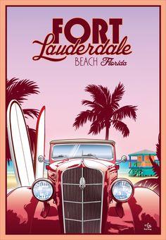Fort Lauderdale Beach, Florida USA beach travel poster surfboards - Julia Home Poster Surf, Retro Poster, Poster Ads, Old Posters, Beach Posters, Vintage Travel Posters, Florida Usa, Florida Travel, Tallahassee Florida