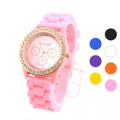 Silikon-Band Armbanduhr mit Strass - vielen Farben Damen