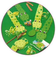 Traktatie voor uw kinderfeestje thuis, krokodil met traktratie in de bek
