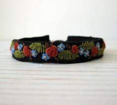 Cuff Bracelet  Burnt Orange Roses Hand Embroidered on by Sidereal, $48.00